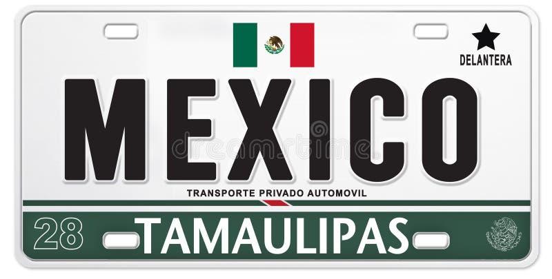 Le football fier mexicain du football du Mexique de plaque minéralogique illustration stock
