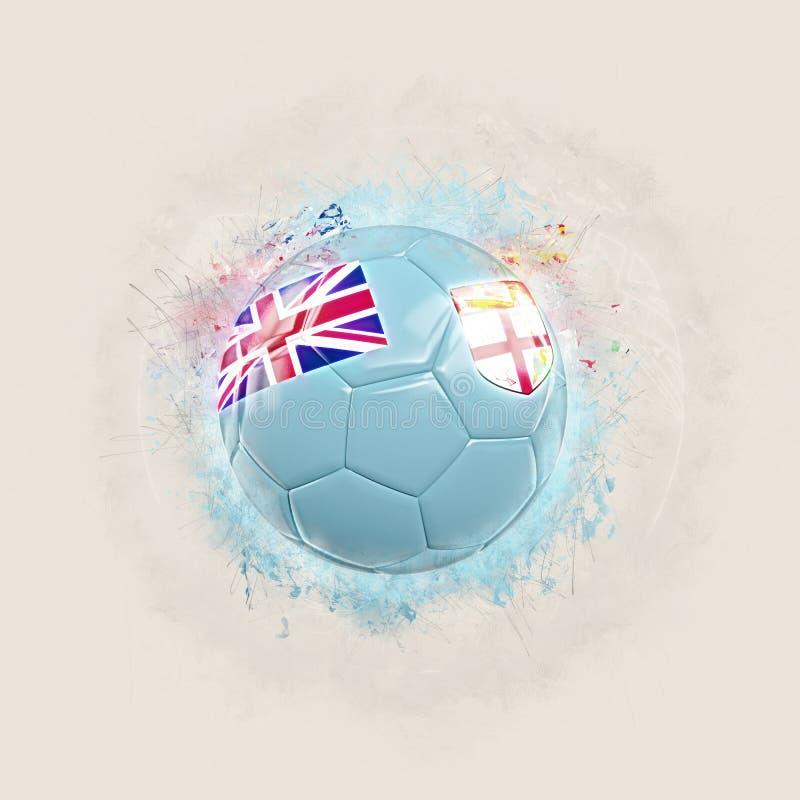 Le football grunge avec le drapeau du Fiji illustration de vecteur