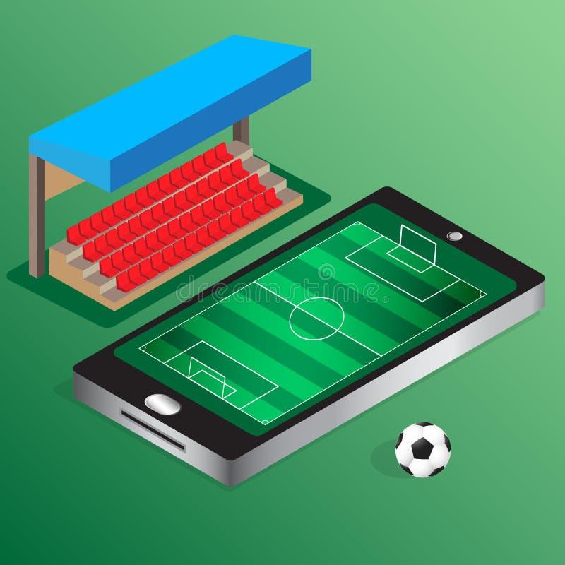 Le football isométrique du football observant en ligne illustration libre de droits