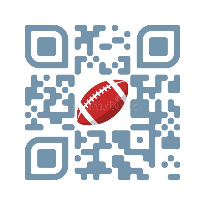 Le football lisible de jeu de code de Smartphone QR avec l'icône de boule illustration libre de droits