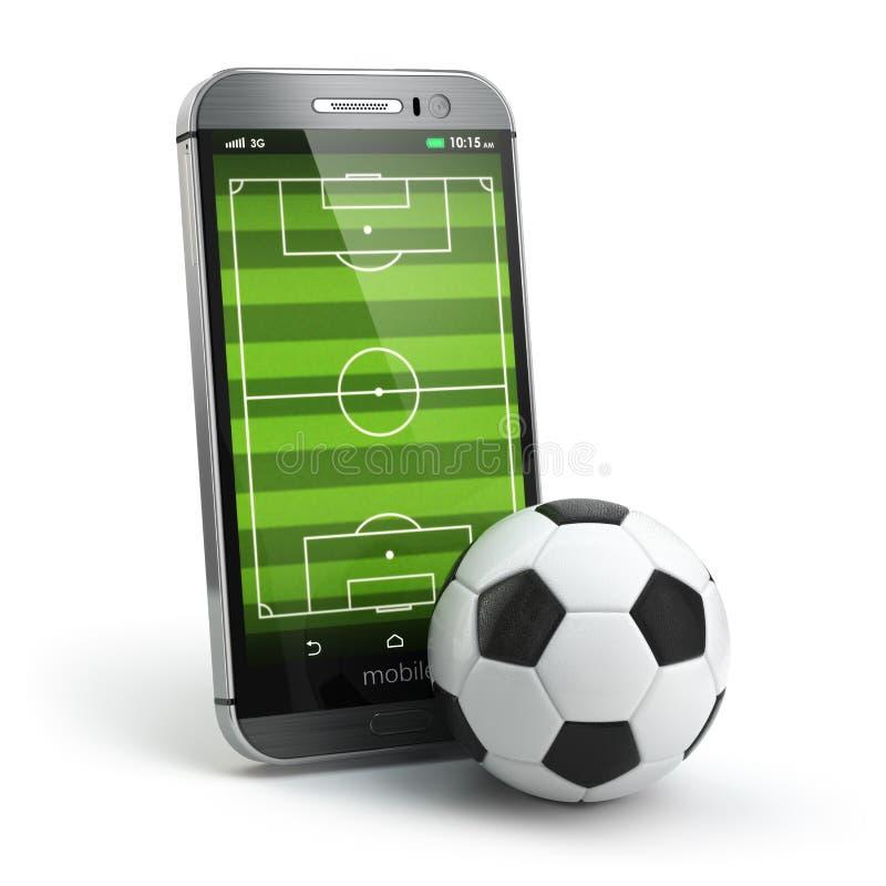 Le football mobile Terrain de football sur l'écran et la boule de smartphone illustration stock
