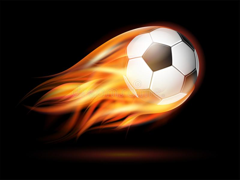 Le football ou ballon de football de vol sur le feu illustration de vecteur