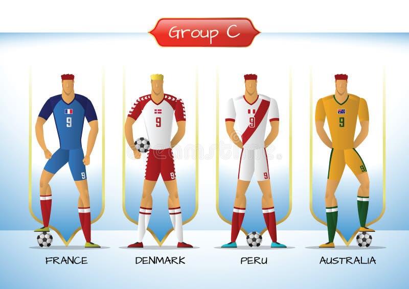 Le football 2018 ou groupe uniforme C d'équipe de football illustration stock