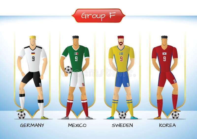 Le football 2018 ou groupe uniforme F d'équipe de football illustration libre de droits
