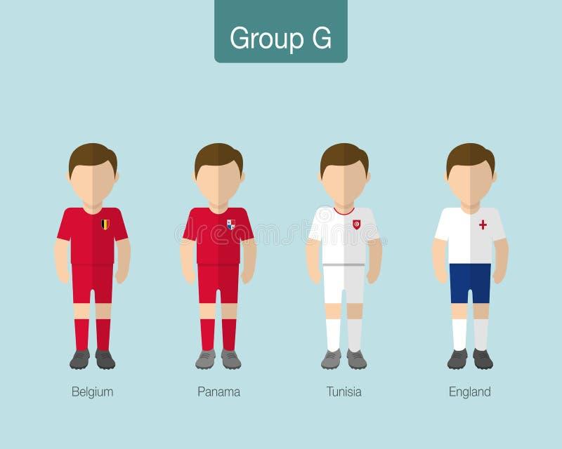 Le football 2018 ou uniforme d'équipe de football Groupe G avec la BELGIQUE, PANA illustration libre de droits