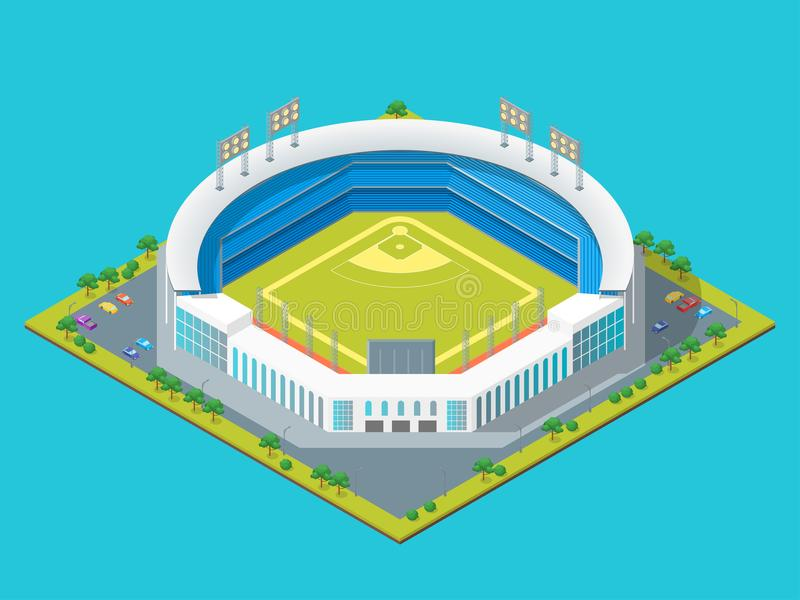 Le football ou vue isométrique du concept 3d de parc ou de stade de base-ball Vecteur illustration libre de droits