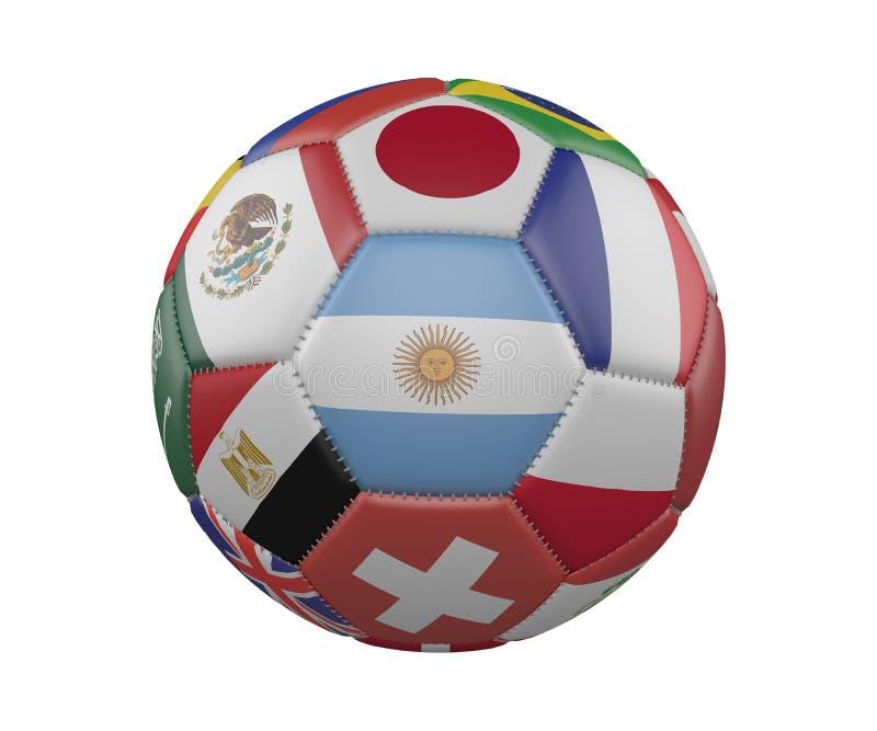 Le football SoccerBall avec des drapeaux d'isolement sur le fond blanc, Argentine au centre, rendu 3d illustration stock
