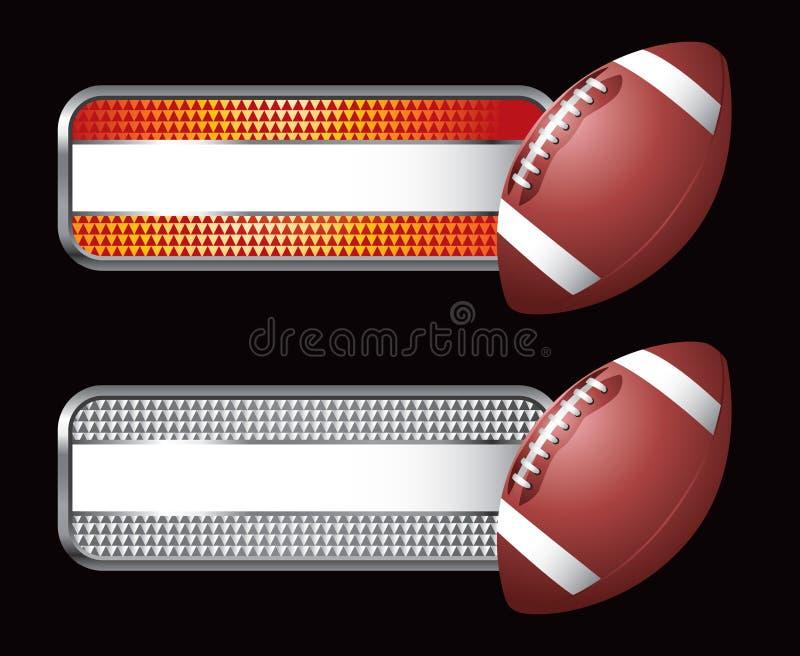 Le football sur les drapeaux rayés illustration de vecteur