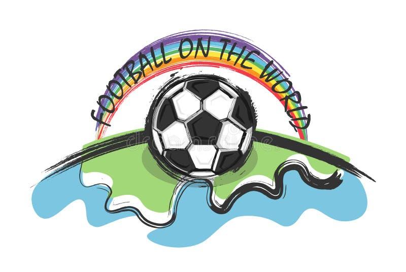 Le football sur le monde et l'arc-en-ciel sur le fond de whitw Griffonnage et style de dessin d'enfant Conception plate Vecteur p illustration de vecteur