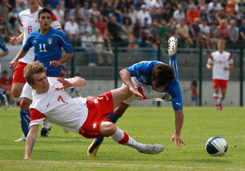 Le football U-20 : l'Italie contre la Pologne photographie stock libre de droits