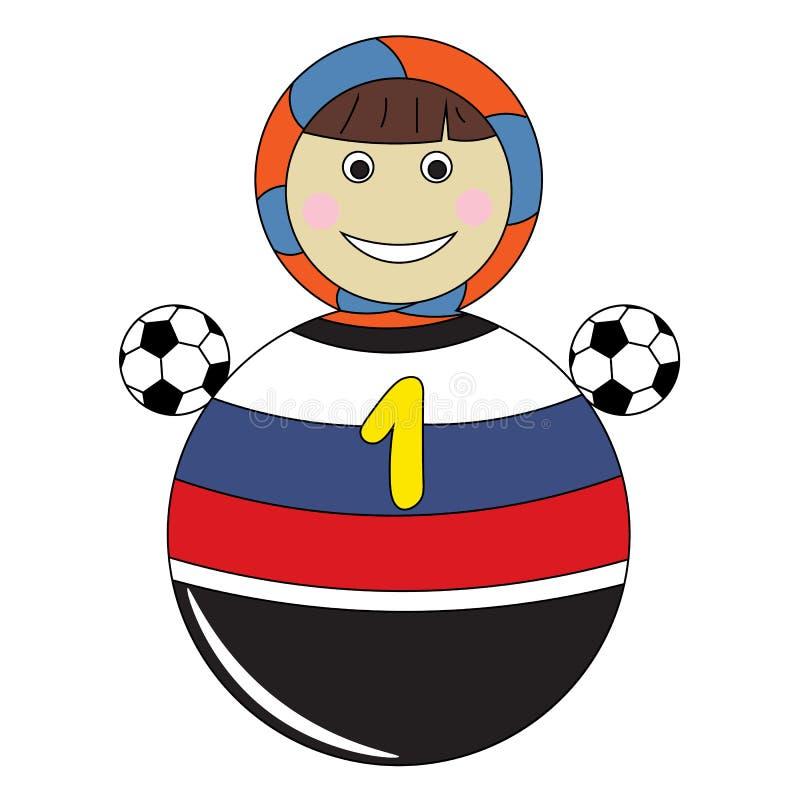 Le football va en Russie Jouet du ` s d'enfants de ballon de football et de Russe illustration de vecteur