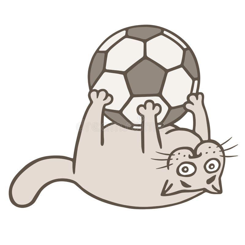 Le footballeur de chat de bande dessinée a attrapé la boule Illustration de vecteur illustration stock