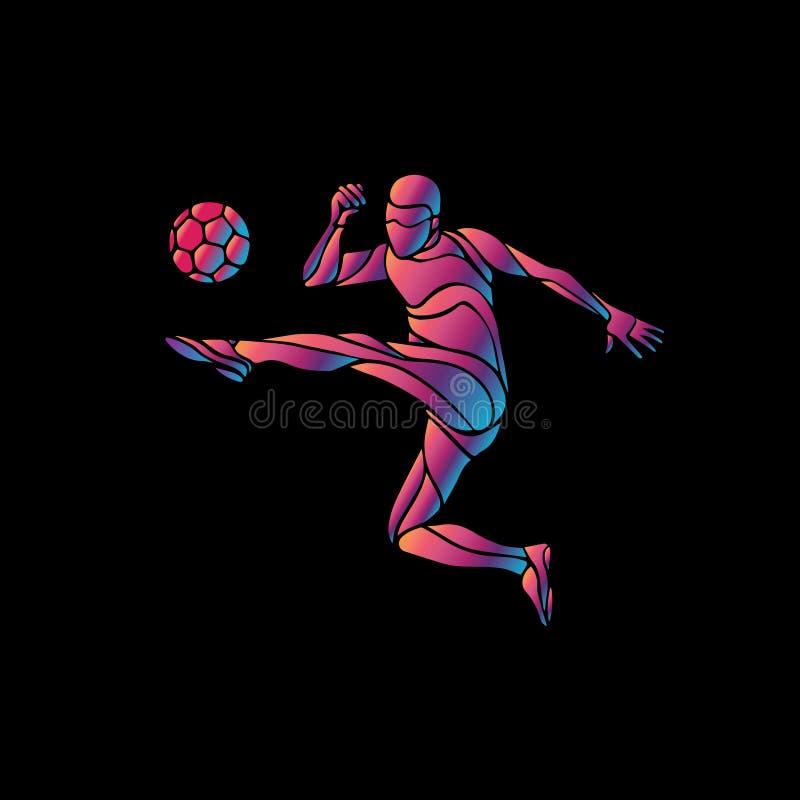 Le footballeur donne un coup de pied la bille L'illustration colorée de vecteur sur le fond noir illustration de vecteur
