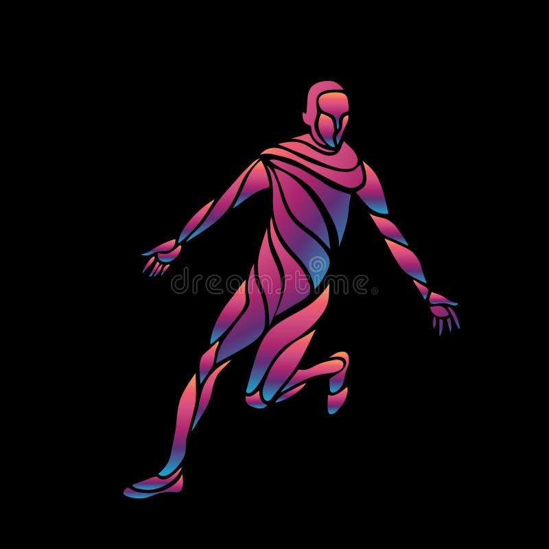 Le footballeur donne un coup de pied la bille L'illustration colorée de vecteur sur le fond noir illustration libre de droits