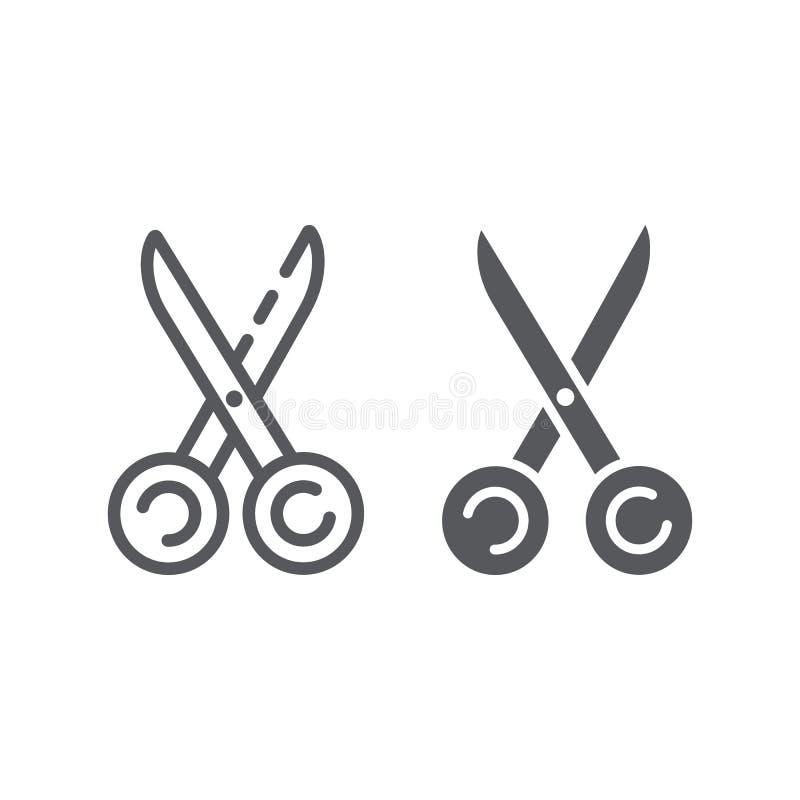 Le forbici di cucito allineano e l'icona di glifo, strumento e cucire, segno dell'attrezzatura dei sarti, la grafica vettoriale,  illustrazione di stock