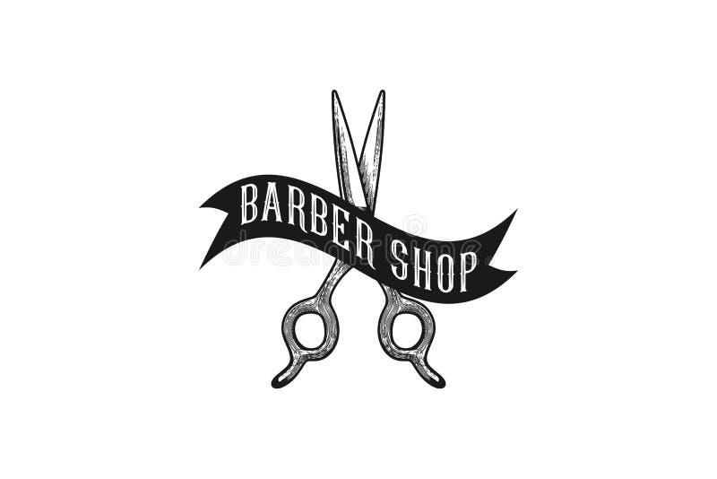 le forbici ed il nastro, logo disegnato a mano d'annata progettano l'ispirazione isolati su fondo bianco illustrazione vettoriale