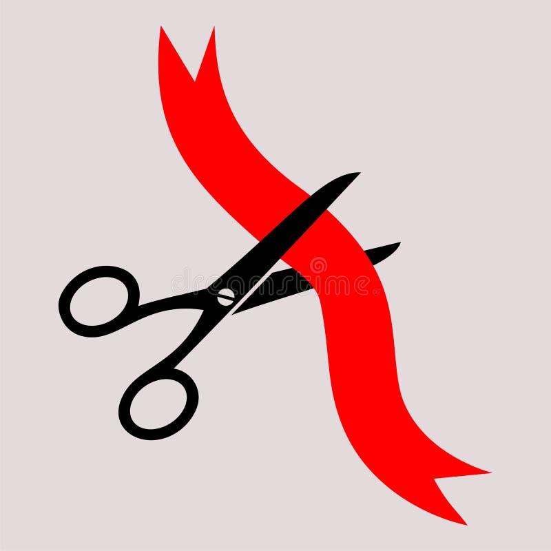 Le forbici hanno tagliato il nastro rosso royalty illustrazione gratis