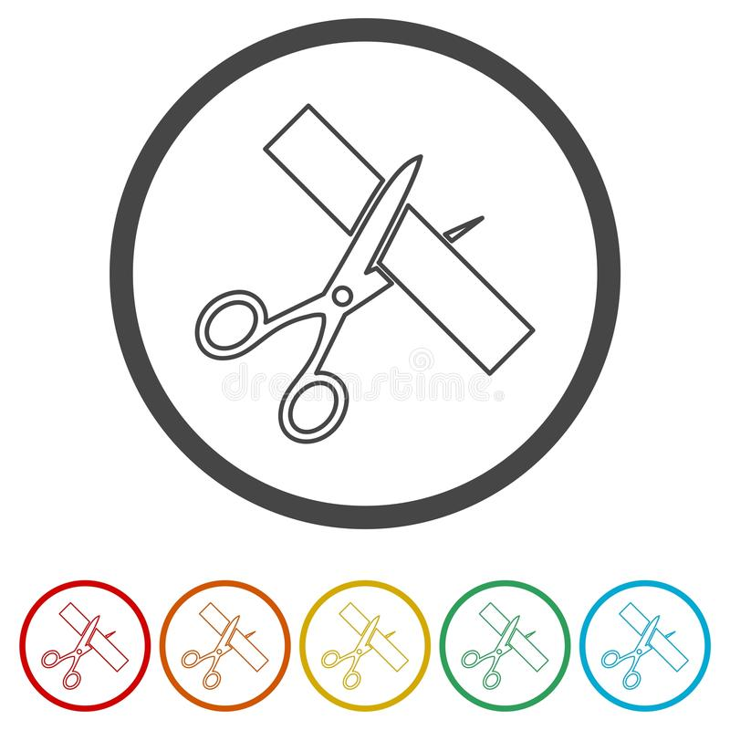 Le forbici hanno tagliato il nastro, tagliente il nastro, 6 colori inclusi illustrazione vettoriale