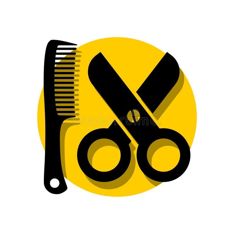 Le forbici semplici pettinano l'illustrazione di logo del salone di capelli illustrazione vettoriale