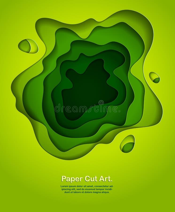 Le forme curvy del ritaglio astratto del Libro Verde hanno messo a strati, illustr di vettore royalty illustrazione gratis