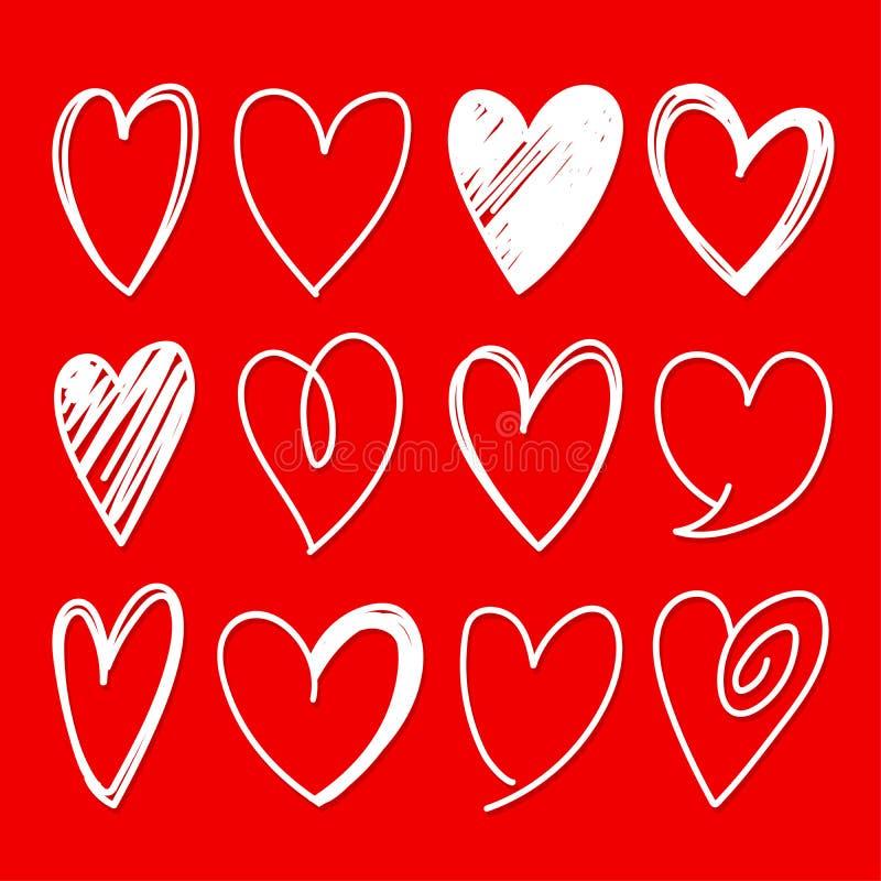 Le forme del cuore hanno schizzato le icone di vettore illustrazione di stock