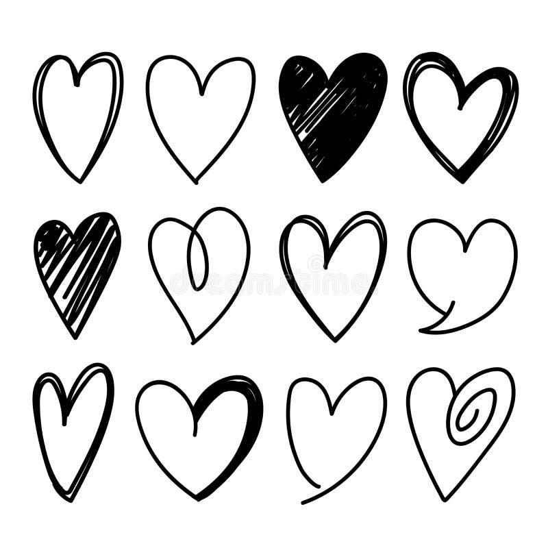 Le forme del cuore hanno schizzato le icone di vettore illustrazione vettoriale