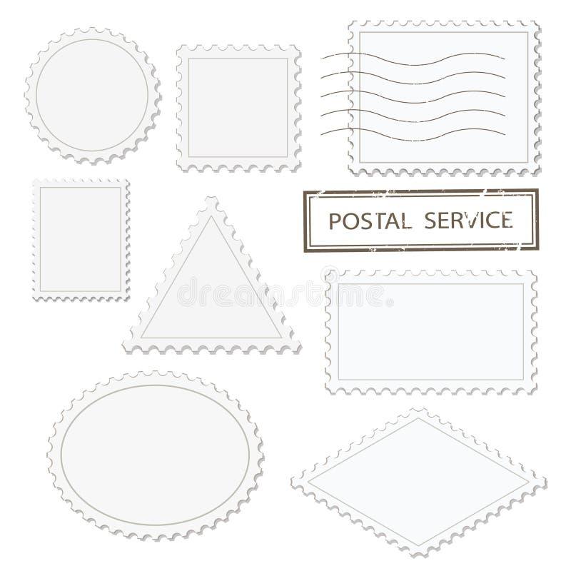 Le forme differenti in bianco dei francobolli hanno messo - il triangolo, il quadrato, il giro, l'ovale, rombo Isolato su bianco illustrazione vettoriale