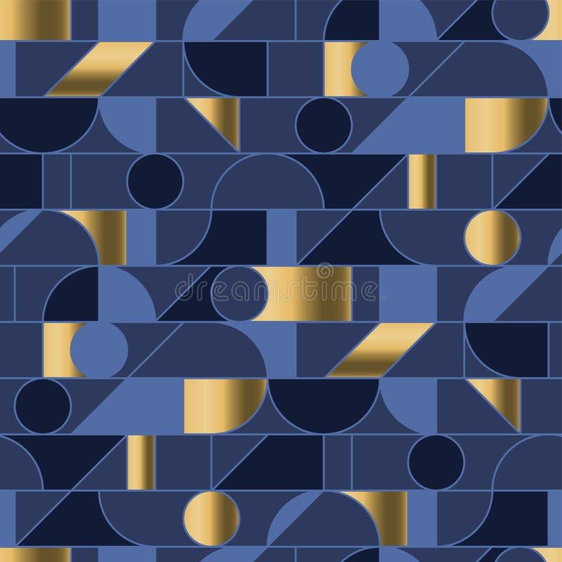 Le forme geometriche astratte ingranano il modello senza cuciture nelle retro vibrazioni 70s royalty illustrazione gratis