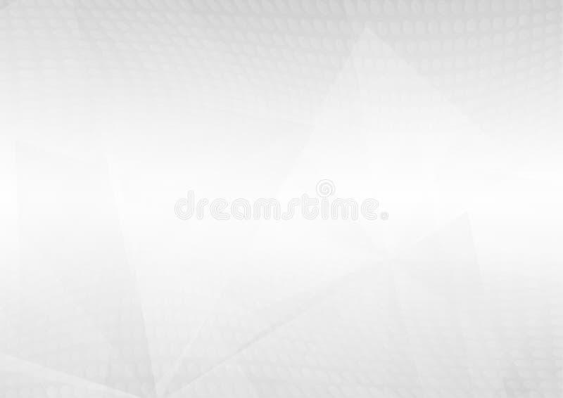 Le forme geometriche di prospettiva bianca astratta si sovrappongono sul fondo grigio di pendenza illustrazione di stock