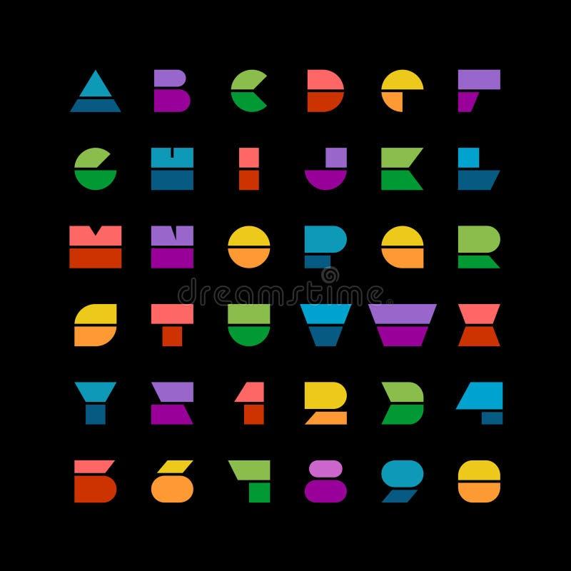 Le forme geometriche variopinte piane segna la fonte con lettere di stile con i numeri illustrazione vettoriale