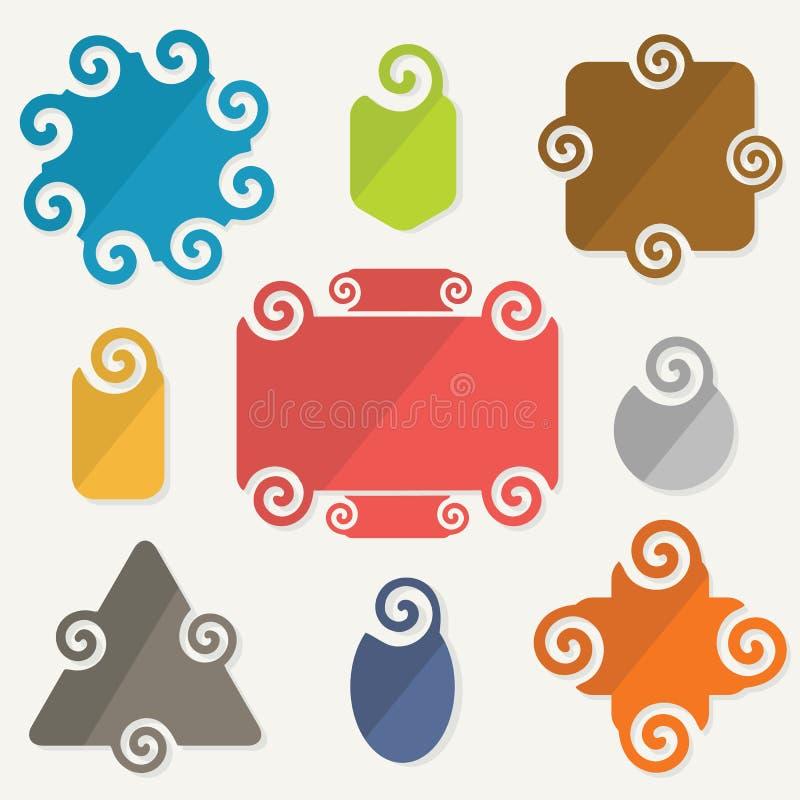 Le forme variopinte di spirale etichettano le icone degli elementi di progettazione messe illustrazione di stock