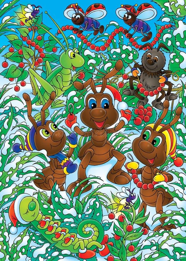 Le formiche fanno le decorazioni di natale illustrazione - Le decorazioni di natale ...