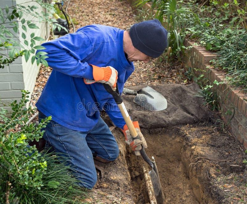 Le fossé de creusement d'homme pour remplacer des tuyaux de canalisation d'égout et la pelouse arrosent image libre de droits