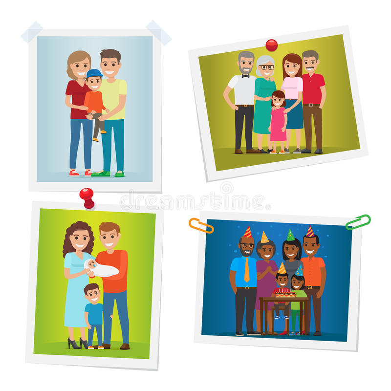 Le foto felici di momenti della famiglia hanno messo la galleria su bianco royalty illustrazione gratis