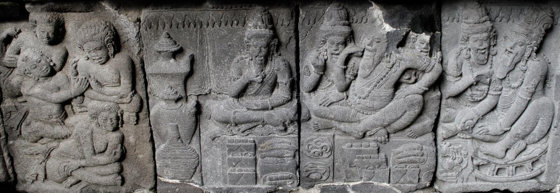 Le fourneau de soulagement de Ramayana découpe ou nandisvara sur le temple de Prambana photo libre de droits