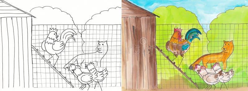 Le Fox et la poule illustration stock