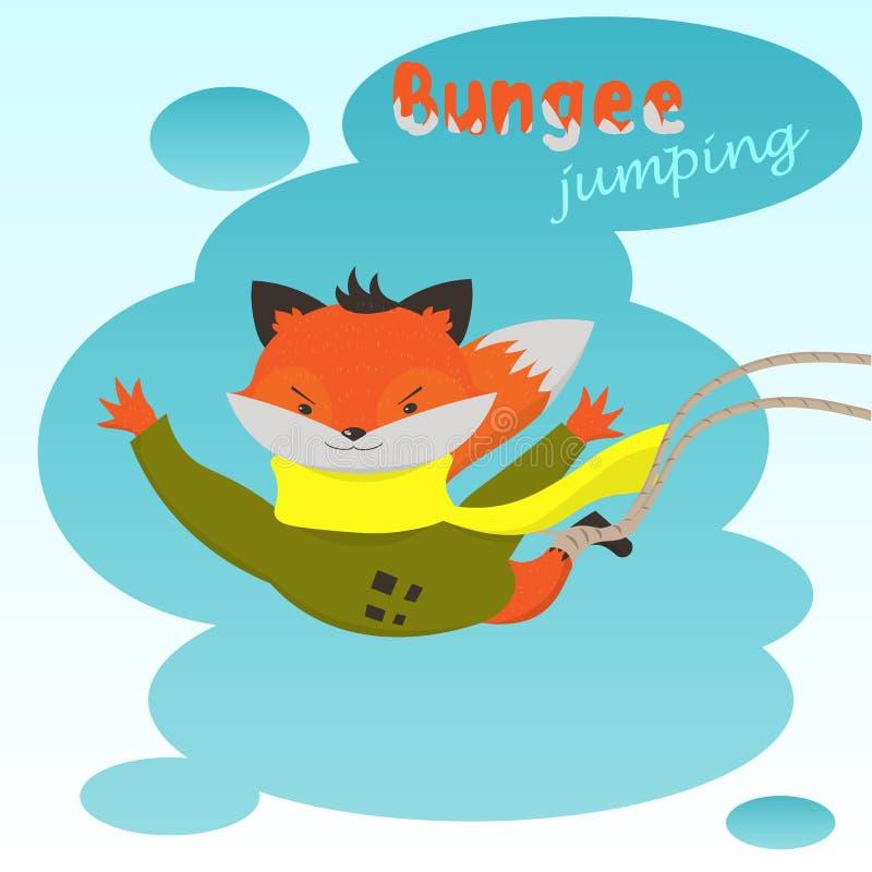 Le Fox mignon de bande dessinée saute l'élastique sur le fond des nuages illustration stock