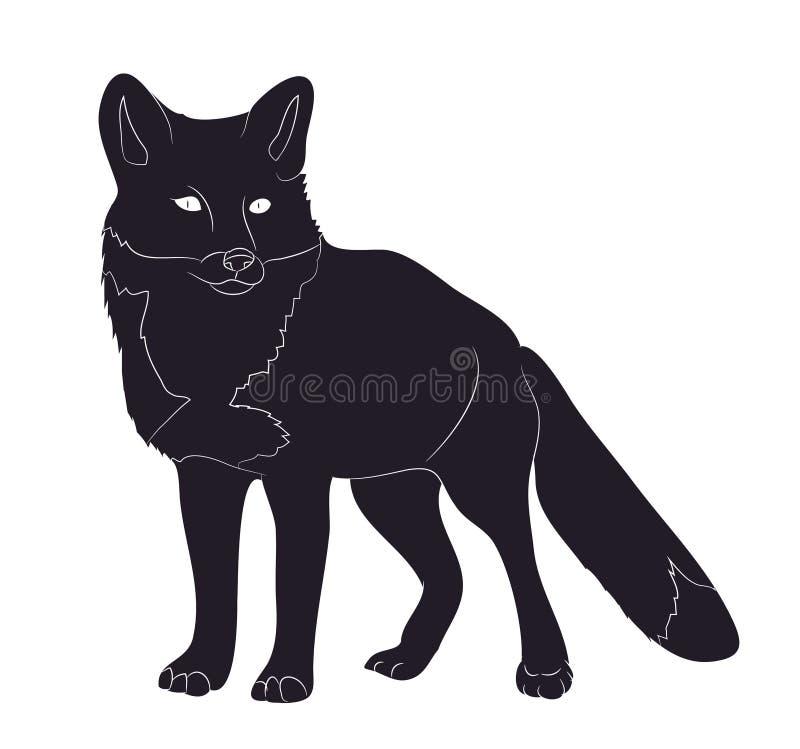 Le Fox tient le dessin de silhouette, vecteur illustration libre de droits