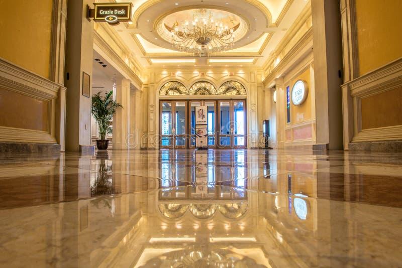 Le foyer de marbre fleuri de l'hôtel et du casino vénitiens photographie stock libre de droits