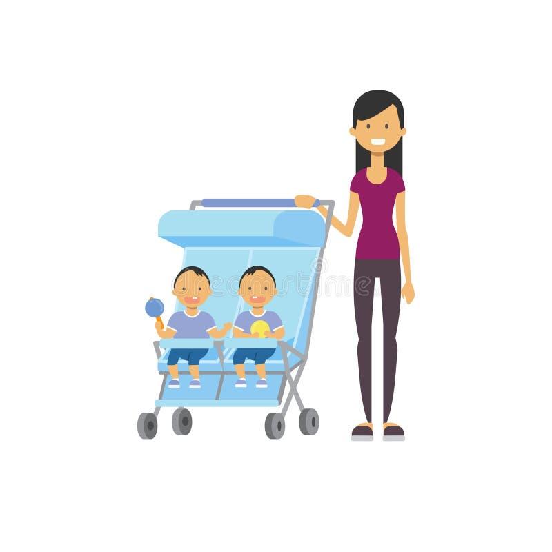 Le frère de soeur de bébé de mère jumelle l'avatar intégral de double poussette bleue sur le fond blanc, concept de la famille ré illustration stock
