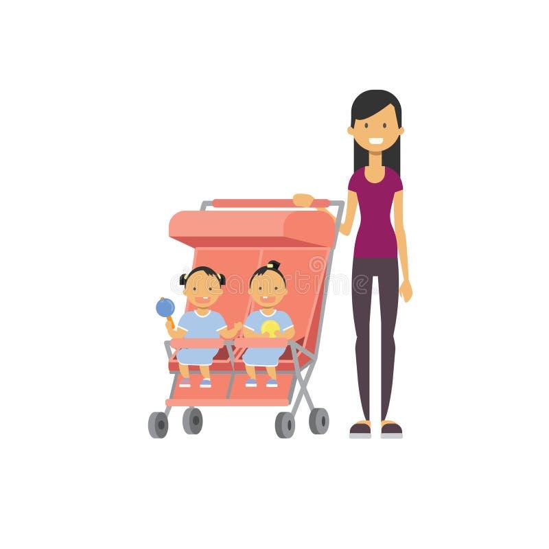 Le frère de soeur de bébé de mère jumelle l'avatar intégral de double poussette de rose sur le fond blanc, concept de la famille  illustration libre de droits