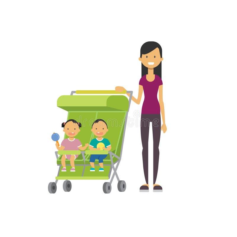 Le frère de soeur de bébé de mère jumelle l'avatar intégral de double poussette verte sur le fond blanc, concept de la famille ré illustration stock