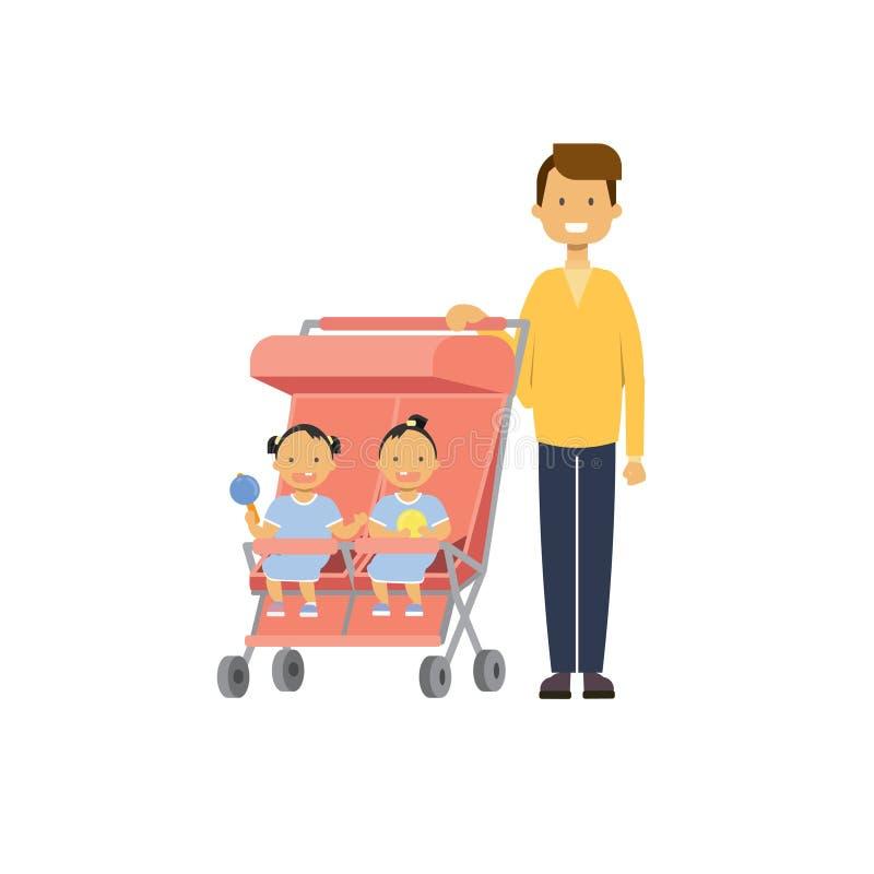 Le frère de soeur de bébé de père jumelle l'avatar intégral de double poussette sur le fond blanc, concept de la famille réussi,  illustration stock