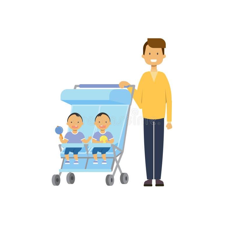 Le frère de soeur de bébé de père jumelle l'avatar intégral de double poussette sur le fond blanc, concept de la famille réussi,  illustration libre de droits
