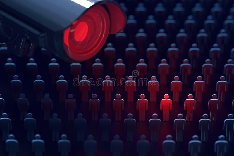 Le frère observe La caméra géante de télévision en circuit fermé observe un homme Aucun secrets, aucun concept d'intimité rendu 3 images stock