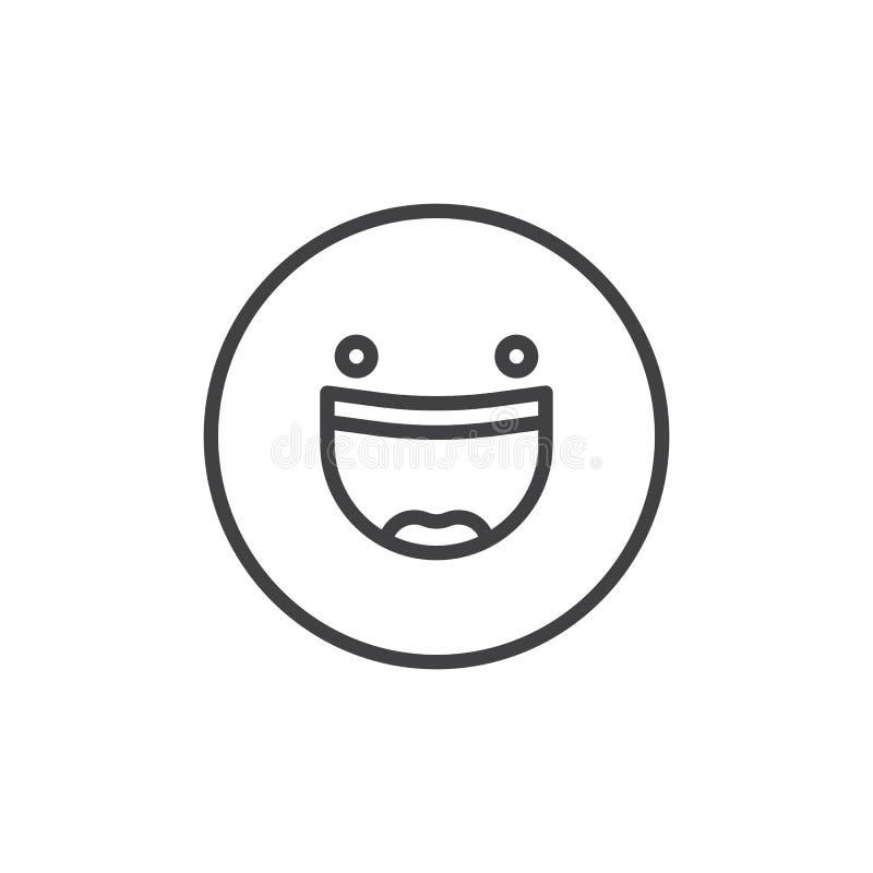Le framsidan med den öppna munemoticonen fodra symbolen stock illustrationer