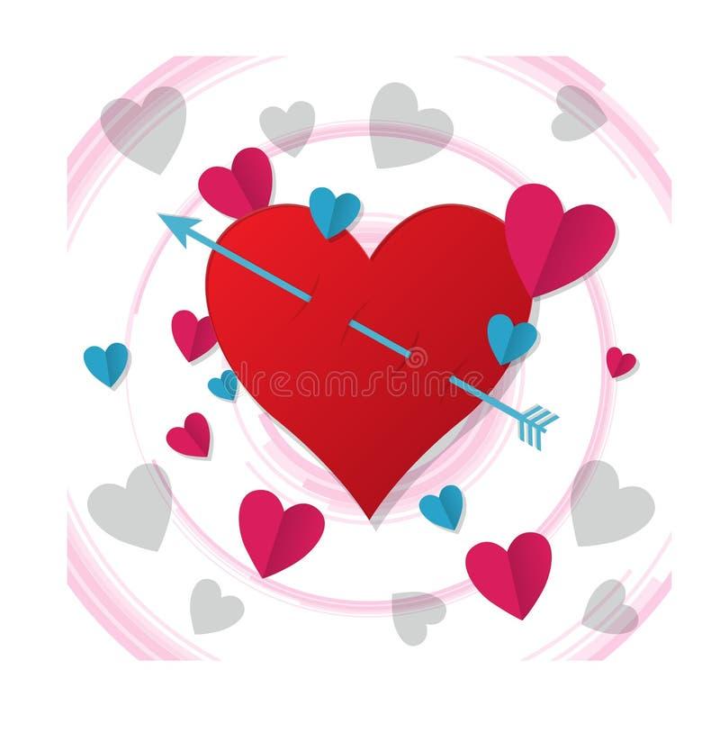 Le frecce attaccate nel cuore, illustrazioni si sono innamorate illustrazione vettoriale