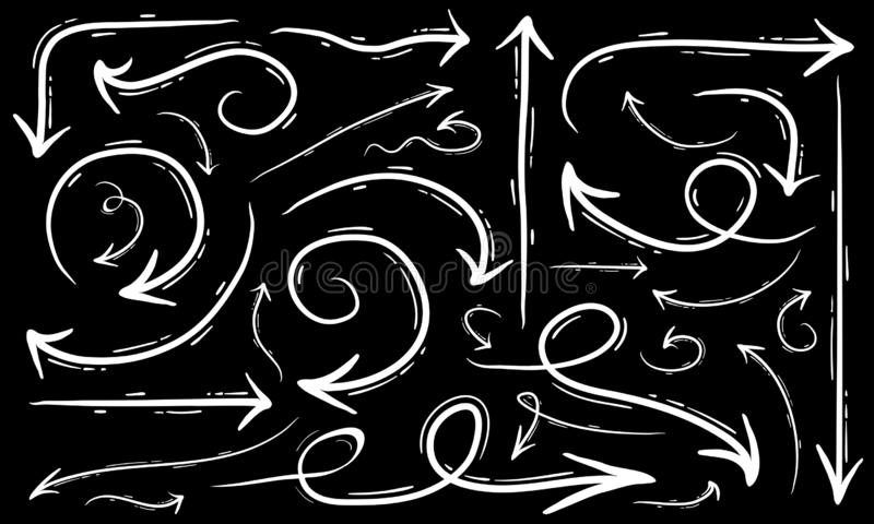 Le frecce creative dell'illustrazione della freccia disegnata a mano di vettore hanno messo il fondo bianco isolato royalty illustrazione gratis