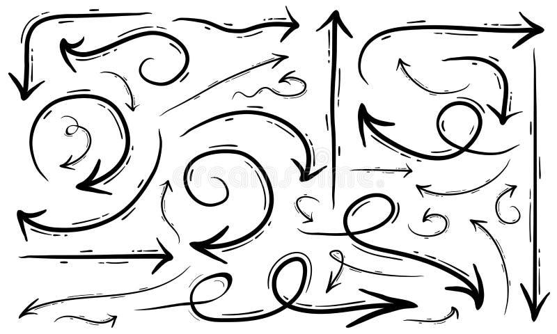Le frecce creative dell'illustrazione della freccia disegnata a mano di vettore hanno messo il fondo bianco isolato illustrazione di stock
