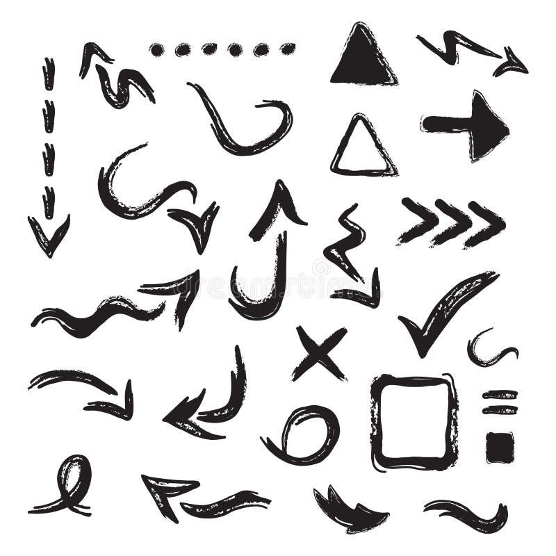Le frecce della direzione e le icone curvy macchiate di inchiostro nere di simbolo e del segno hanno messo su bianco royalty illustrazione gratis